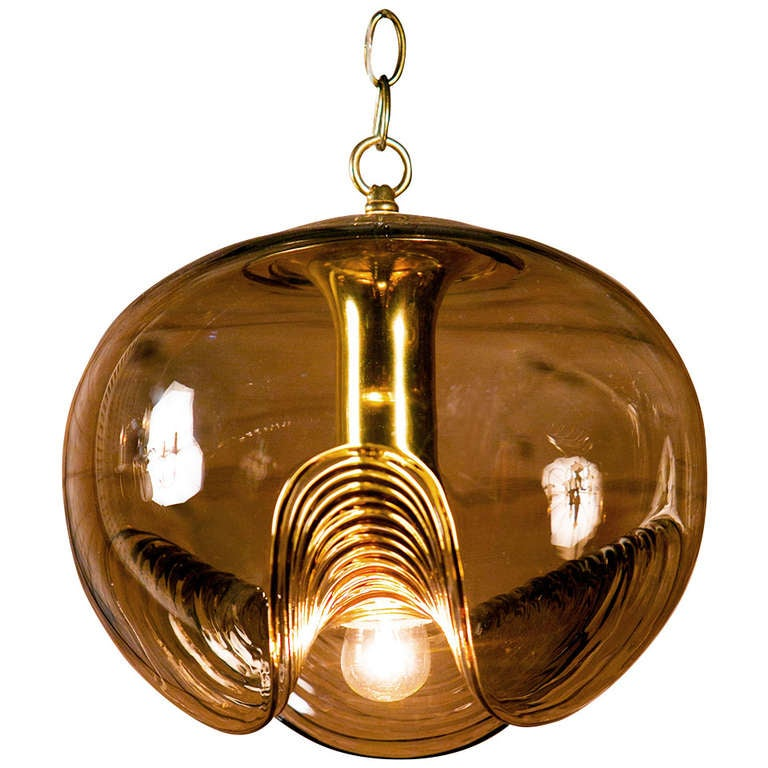 Unique Italian Mid Century Hand Blown Glass Pendant At 1stdibs