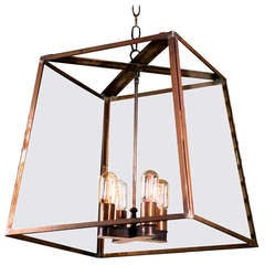"Large Custom Hand-Crafted Brass American ""Butler"" Lantern"
