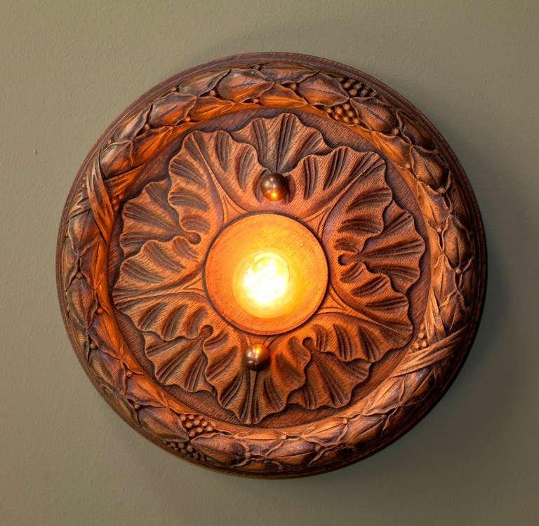 Vintage Hand-Carved Wood Flush Mount Light 2