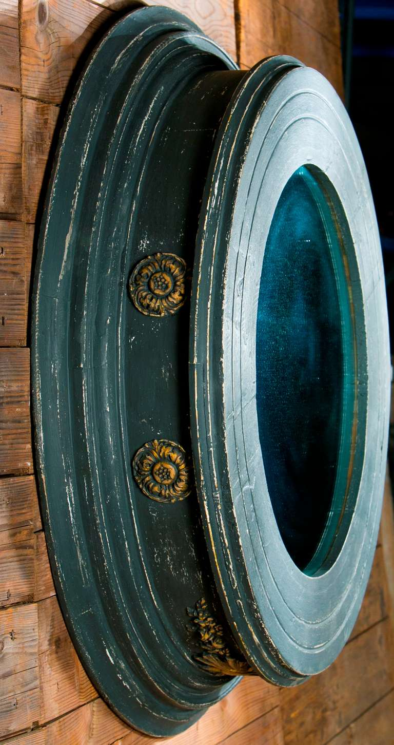 Neoclassical Monumental Hand-Carved and Hand-Painted Round Mirror from France, circa 1850 For Sale