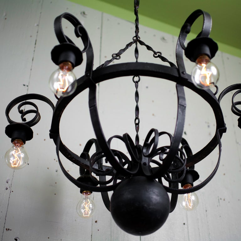 Vintage Six Light Wrought Iron Chandelier At 1stdibs