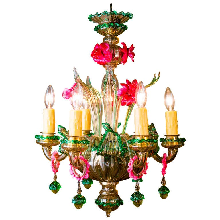 Vintage Pink And Green Floral Motif Murano Chandelier At