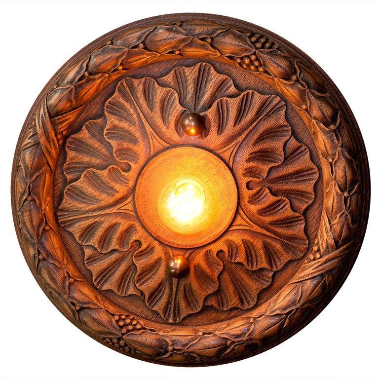 Vintage Hand-Carved Wood Flush Mount Light 1