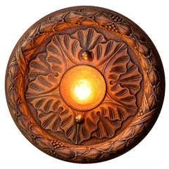 Vintage Hand-Carved Wood Flush Mount Light
