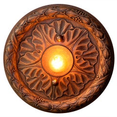 Belgian Wooden Flush Mount Light