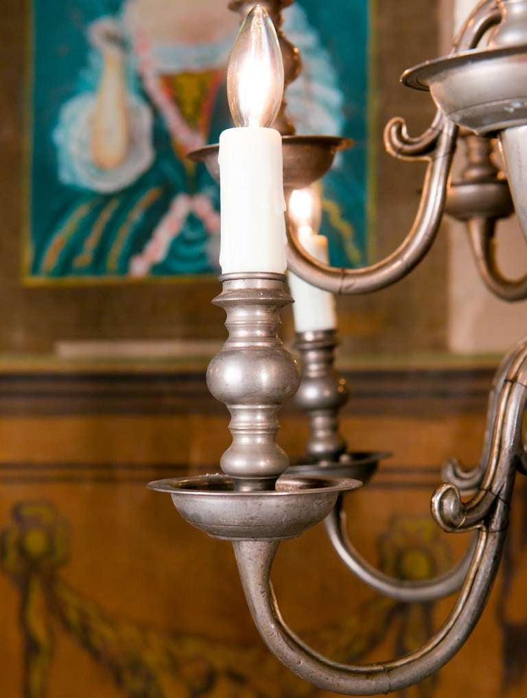Beautiful Dutch Two Tier Pewter Chandelier At 1stdibs