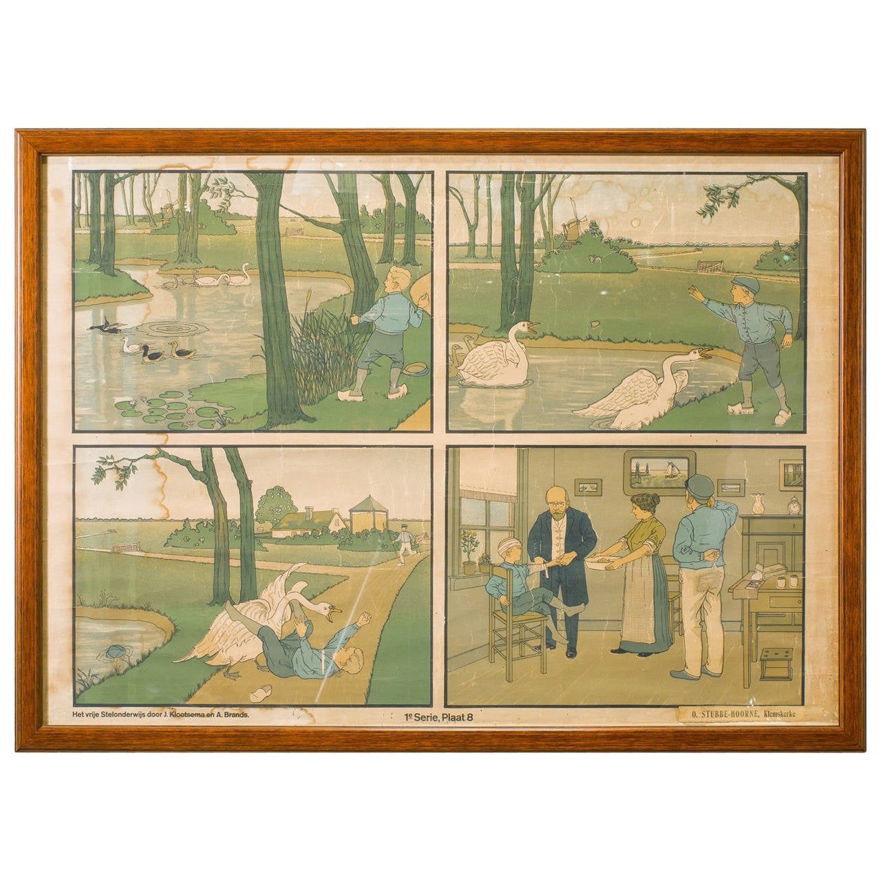 Assorted Collection of Five Framed Belgian Children's School Charts, circa 1900s