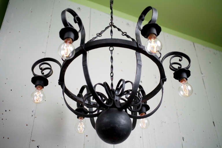 Vintage Hand Forged Iron Industrial Style Chandelier From