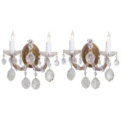 Pair of Maria Theresa Style, Two Arm Crystal Sconces