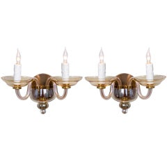 Pair Vintage Two-Arm Moderne Murano Sconces
