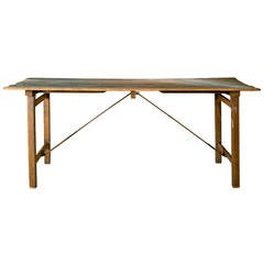 Rustic French Wood and Iron Folding Table