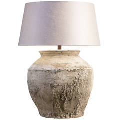 Monumental, Rustic Cambodian Water Jar as Lamp with Belgian Linen Shade