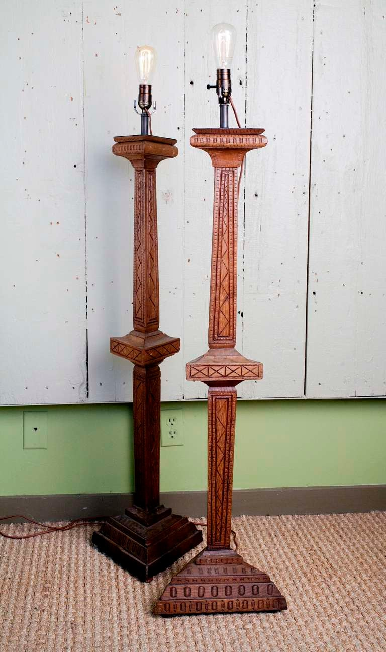 hand carved french wooden table lamps pair at 1stdibs. Black Bedroom Furniture Sets. Home Design Ideas