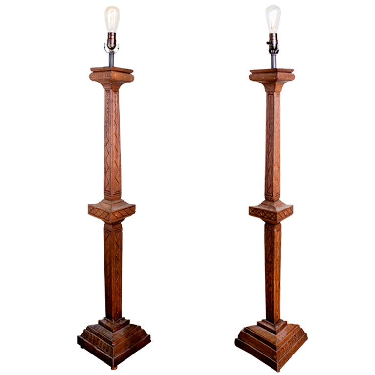 Hand Carved French Wooden Table Lamps Pair At 1stdibs