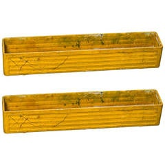 Pair of Willy Guhl Yellow Painted Rectangular Fiber Cement Planters