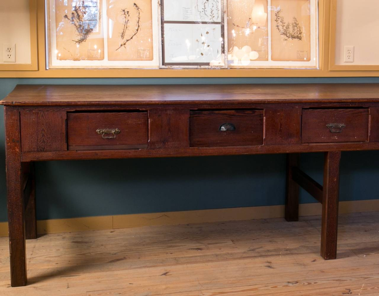 Antique pine kitchen island table from holland at 1stdibs for Antique kitchen island