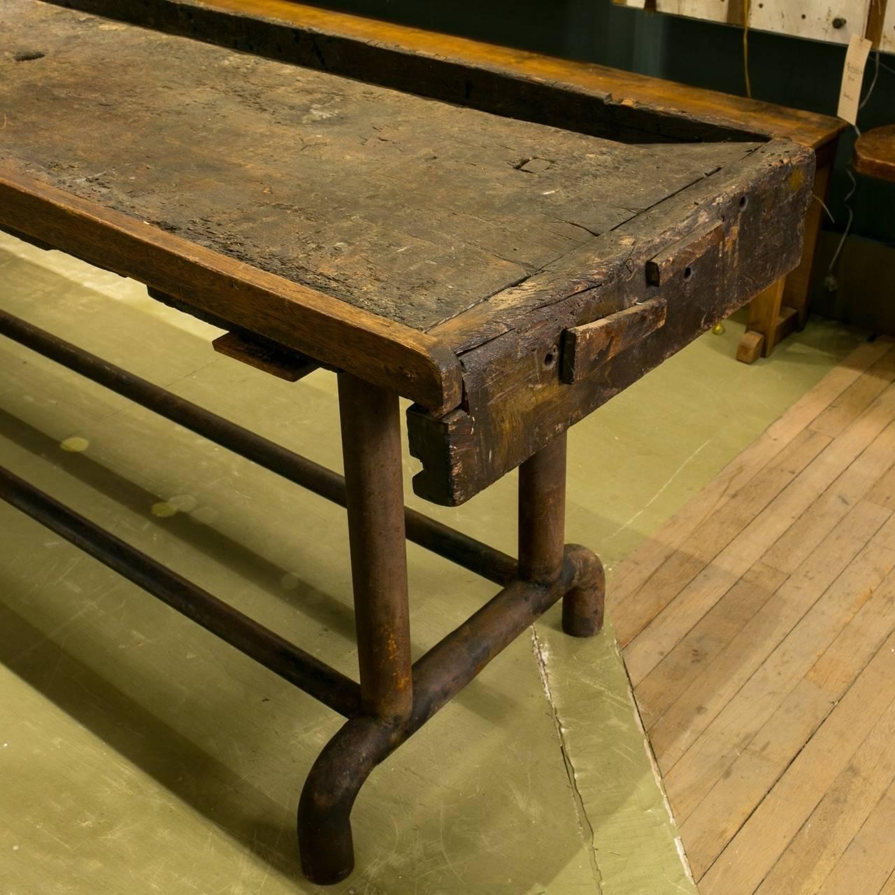 Original Antique Oak Tabletop From Holland, Circa 1900s. Includes The  Original Metal Clamp/