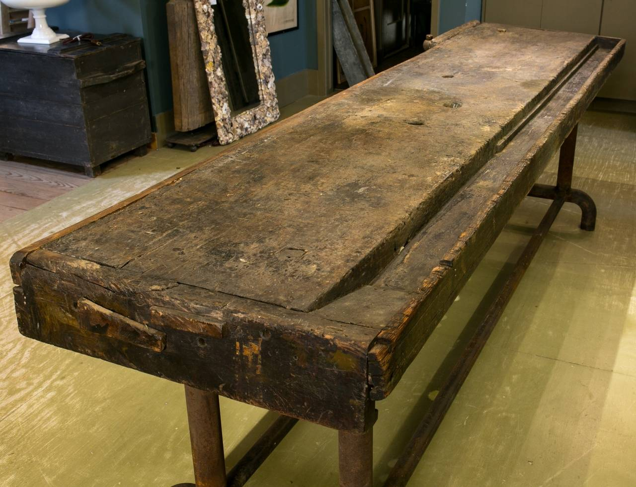 Dutch Long Industrial Work Table With Wood Top And Iron Base From Holland,  Circa 1900