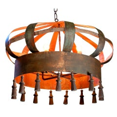 Large Iron Crown-Shaped Chandelier