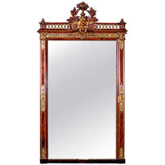 Large Water Gilt  Austrian Rococo Style Mirror with Winged Lion, circa 1900