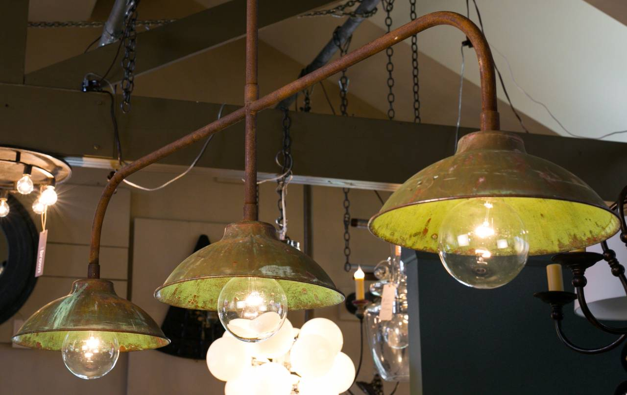 Industrial Kitchen Island Light of Copper and Iron For Sale at 1stdibs