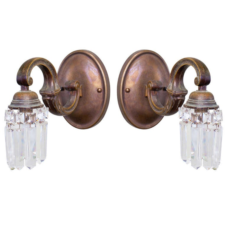 Pair of bronze and crystal gooseneck sconces at 1stdibs - Gooseneck wall sconce ...