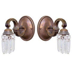 Pair of Bronze and Crystal Gooseneck Sconces