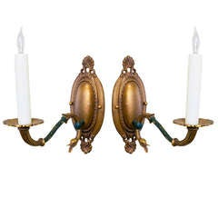 Pair of Empire Style Brass Bronze Sconces