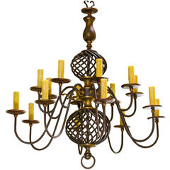 Sixteen-Arm Wrought Iron and Brass Two-Tier Chandelier from Belgium, circa 1940