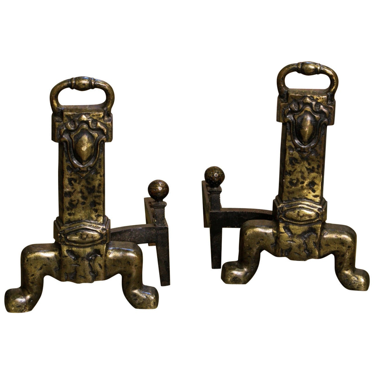 Unusual Arts & Crafts Style Bronze Andirons from Belgium, circa 1930 1