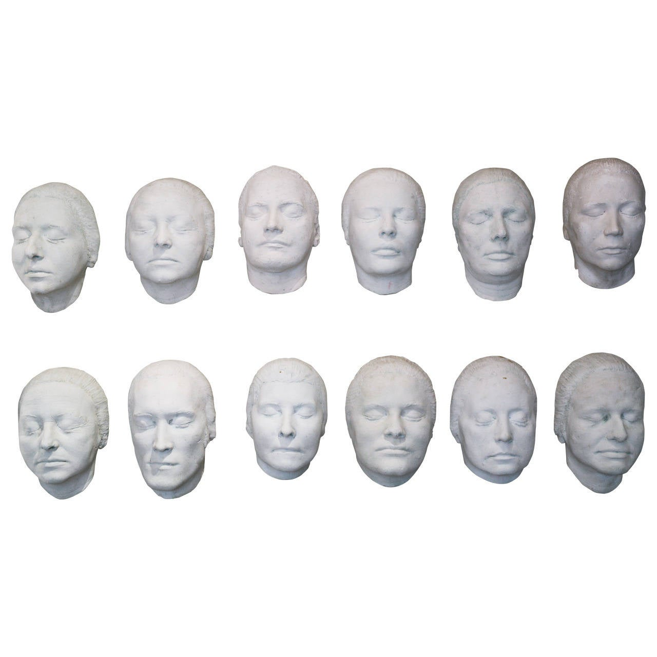 Collection of 12 Rare Plaster Masks of Human Faces 1