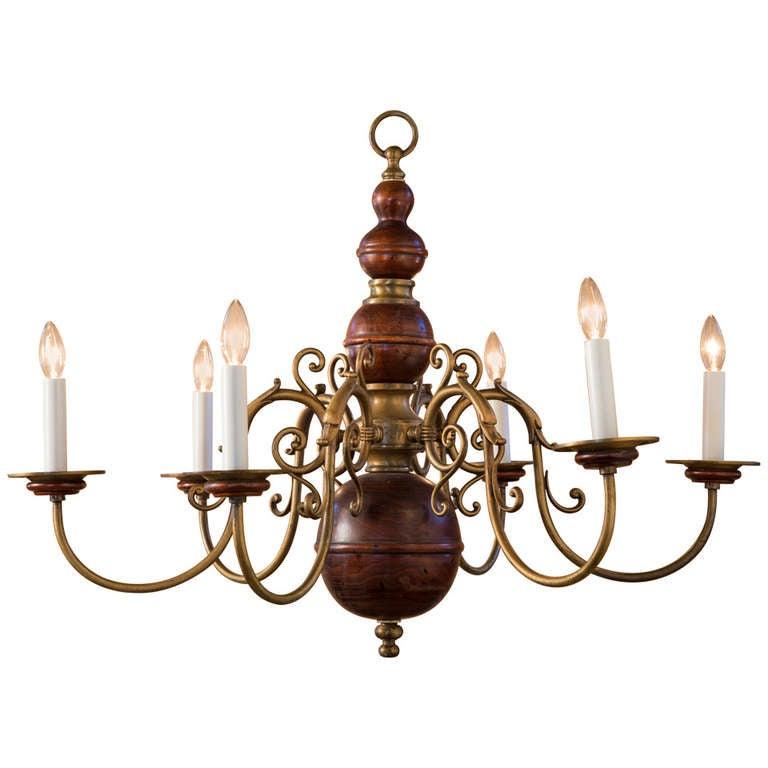 Vintage lighting chandeliers : Vintage dutch brass and wood chandelier at stdibs