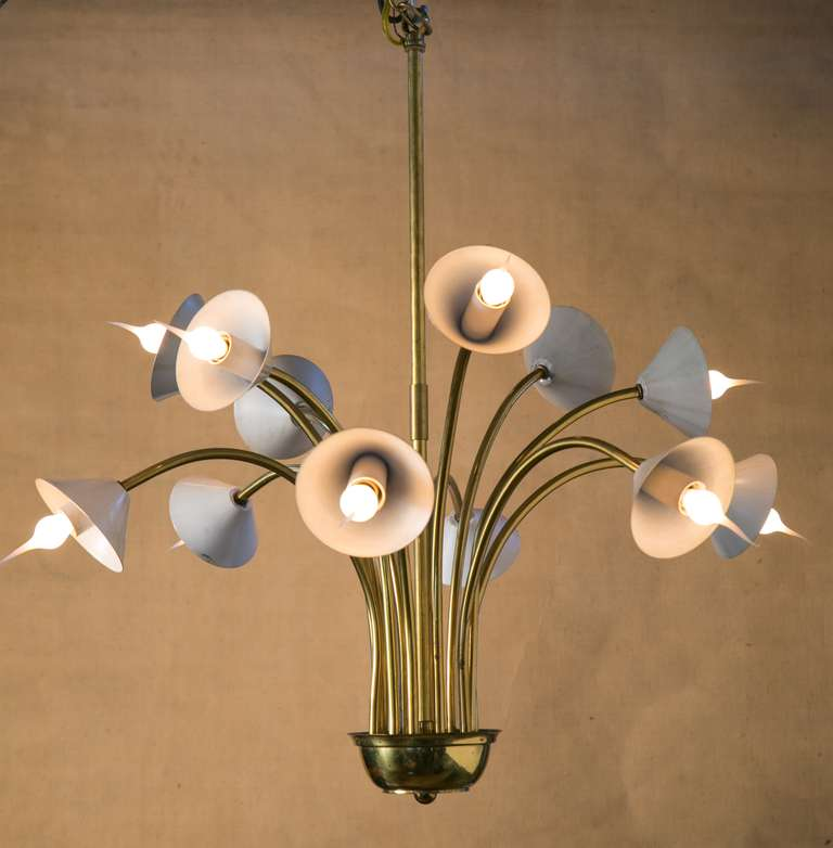 Vintage Art Deco Style Brass And Enamel Chandelier At 1stdibs