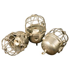 Set of Three Unwired Heavy Aluminum Factory Cage Pendants