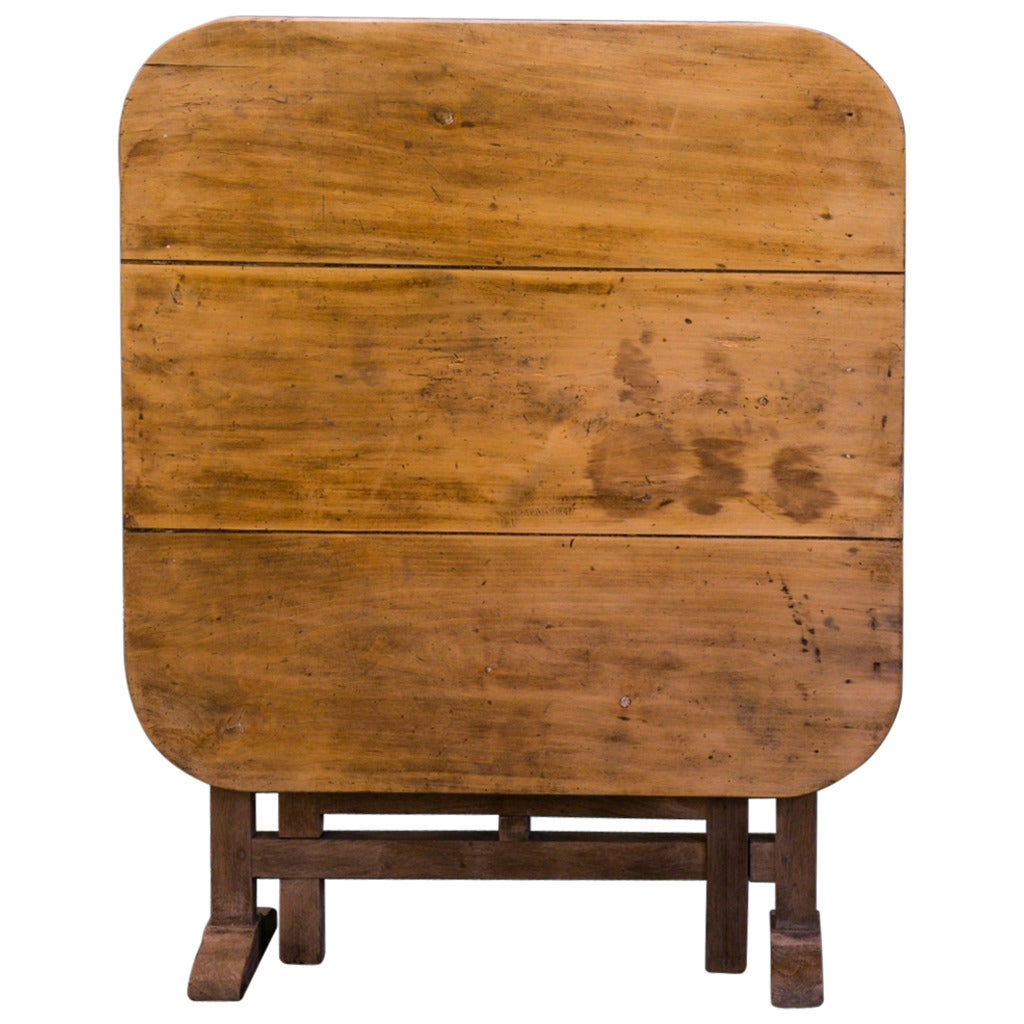 This antique french cherry side table is no longer available - Unusual French Square Folding Wine Table At 1stdibs