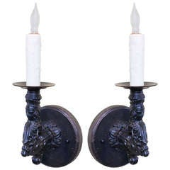 Pair French Black Iron  Figural Wall Sconces, circa 1900