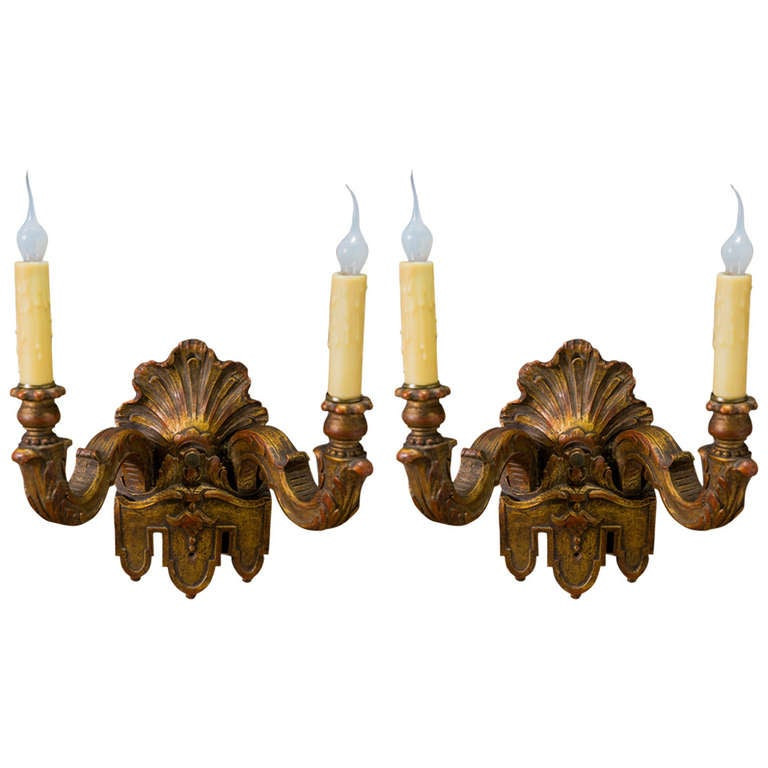 French Wooden Wall Lights : Over-Painted, Vintage, Hand-Carved French Wood Sconces at 1stdibs