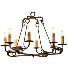 "American Blacksmith-Made Custom Eight-Light Iron ""Fayette"" Chandelier"