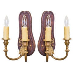 Pair of French Wood and Brass Two-Arm Sconces with Brass Bow Detail, circa 1900