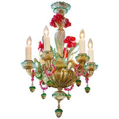 Colorful Italian Murano Glass Chandelier, circa 1920