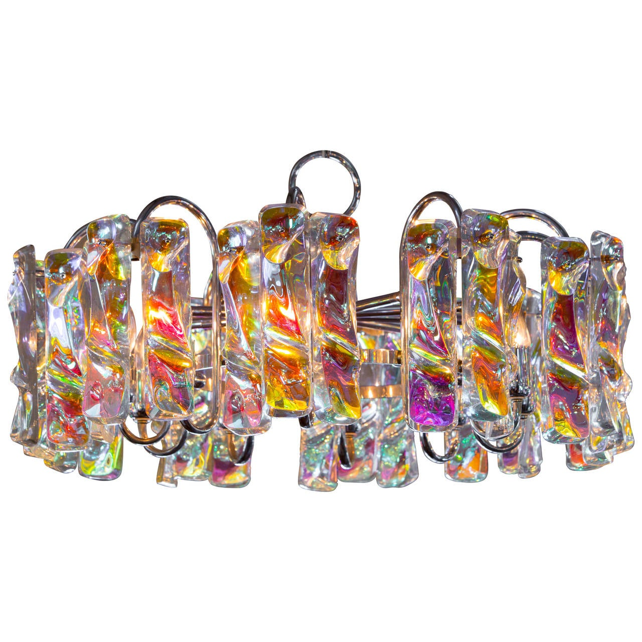 Colorful Crystal And Chrome Vintage Chandelier At 1stdibs