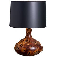 Vintage Hand-Crafted Petrified Wood Table Lamp with Black Paper Shade circa 1950