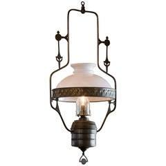 Art Nouveau Lantern with Glass Shade
