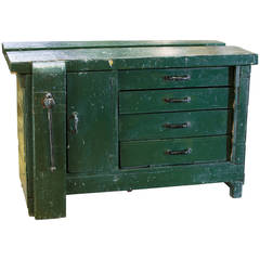 Vintage Green Belgian Industrial Work Bench with Drawers, circa 1920