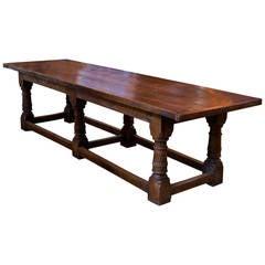 Massive Antique Oak Monastery Table from Belgium