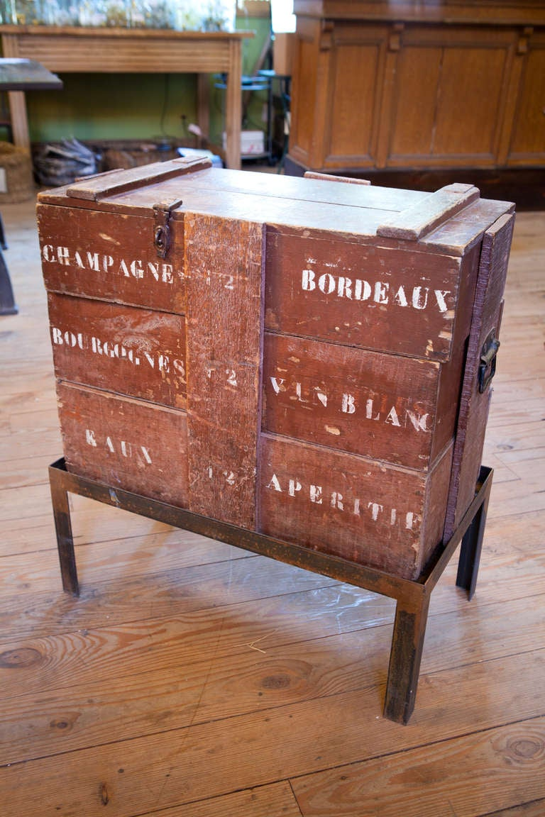 Anitique champagne wine crate table with hand forged iron for Wine crate furniture