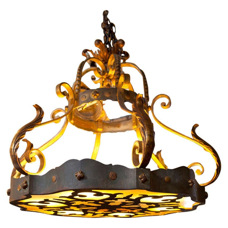 Vintage French Painted Iron Light At 1stdibs