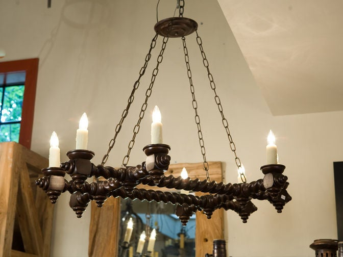 Vintage Belgian Barley Twist Wood Chandelier With Eight