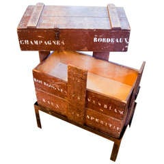 Champagne/ Wine Crate Table with Hand-Forged Iron Base from Belgium, circa 1905