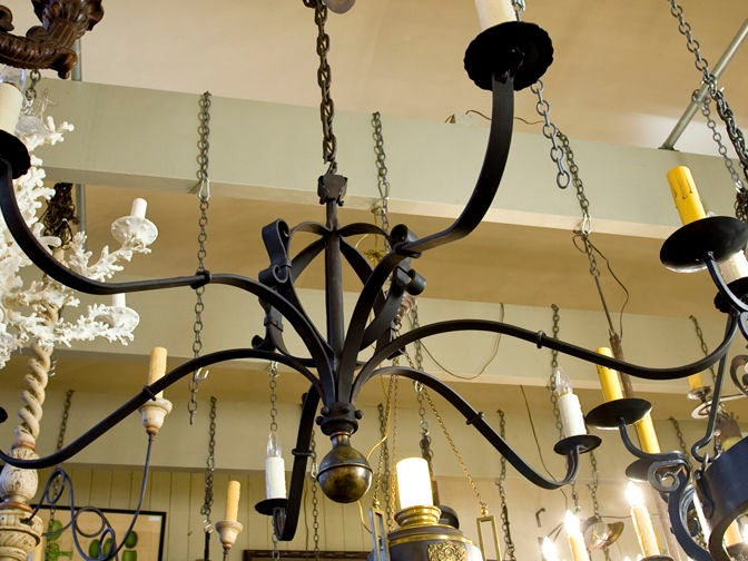 "Hand-Forged Iron and Brass ""Defiance"" Chandelier 3"